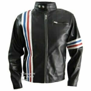 Easy Rider Jacket - Peter Fonda Leather Biker Jacket With Flag
