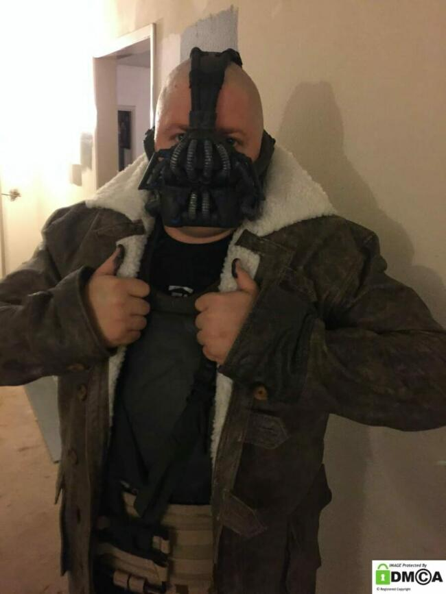 customer wearing our Buy Dark Knight Rises Real Leather Jacket