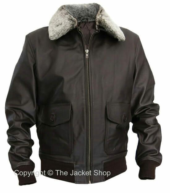 Top Gun Aviator Jacket - G-1 Bomber Flight Military Leather Coat