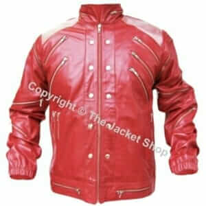 Michael Jackson Real Leather Beat It Jacket Metal Shoulders