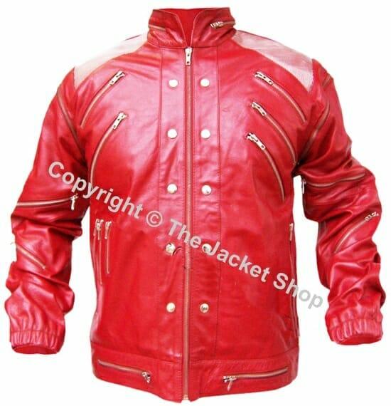 Michael Jackson Beat It Jacket - Real Leather Metal Shoulders
