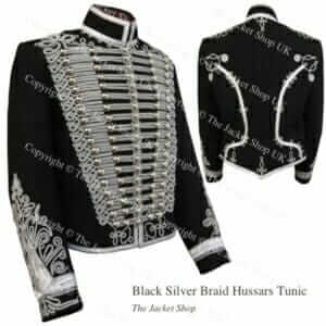 Black Silver Braid Hussars Tunic Dolman Jacket