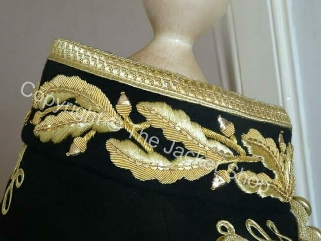 gold bullion metal wire embroidery collar uniform