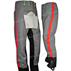 Fall Front Artillery Breeches Trousers Leather Cuff Inseam