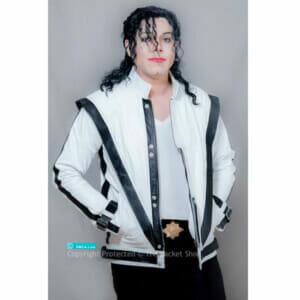 Michael Jackson Real Leather WHITE Thriller Jacket