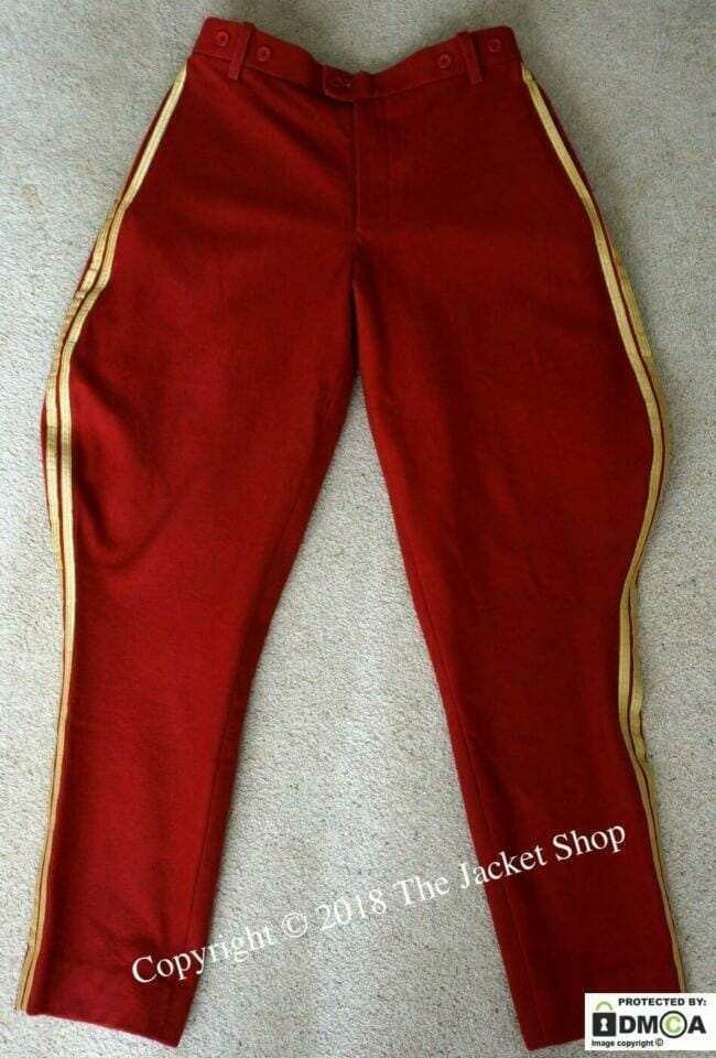 """Dark red cavalry riding breeches with their yellow stripes were known with nickname """"charm pants"""" and only used by cavalry units.,"""
