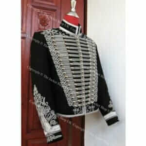 Black-Silver-Braid-Hussars-Tunic-Dolman-Jacket