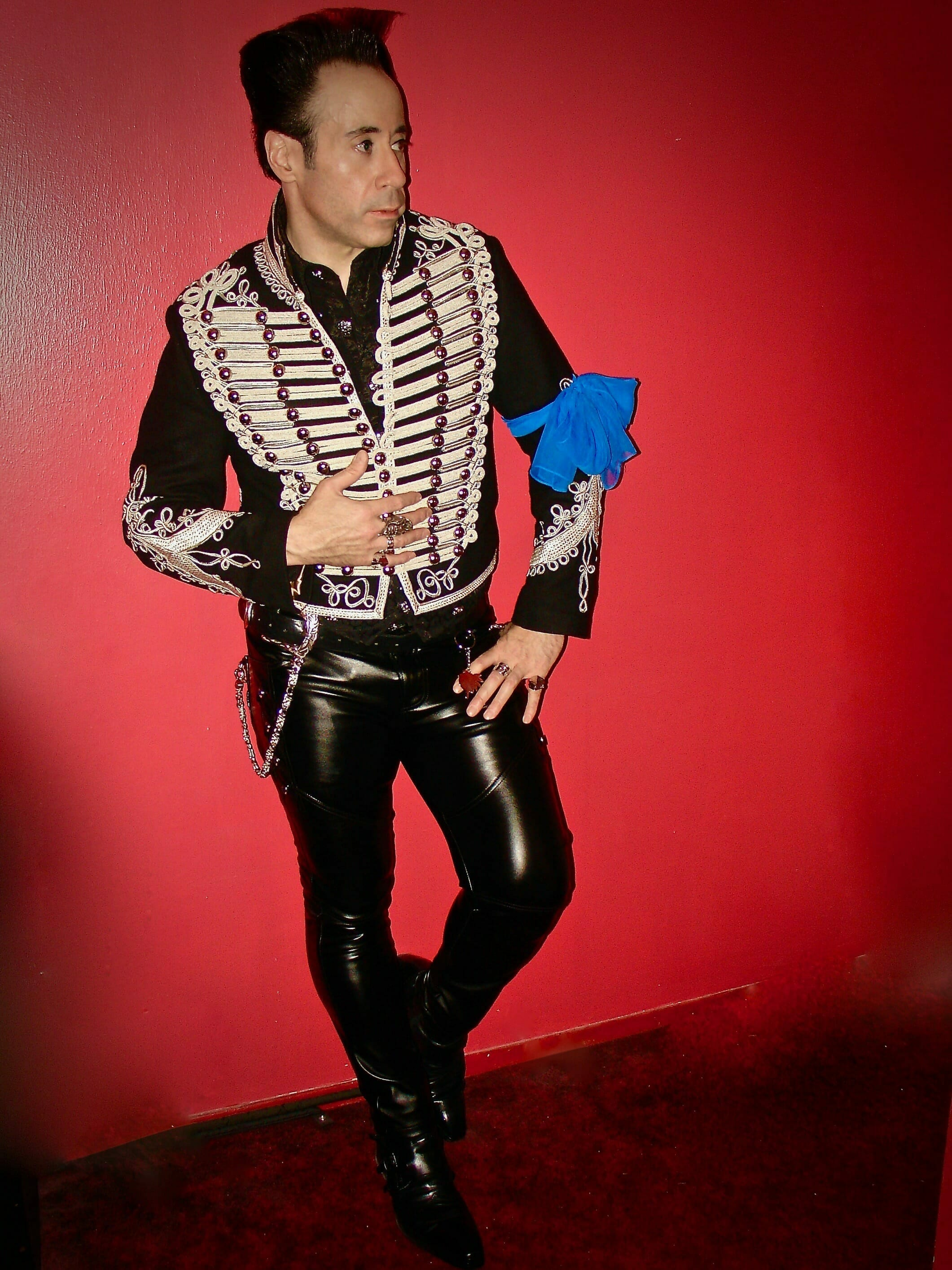 VJ Johnny Blitz wearing a customized version of our Adam Ant Jacket