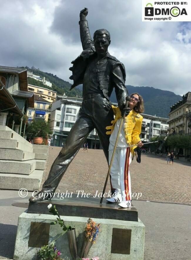 Laura Kania wearing our Freddie Mercury costume, Montreux, Switzerland