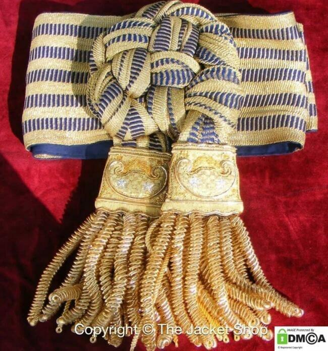 Ceremonial Military Waist Sash – Gold Fringe
