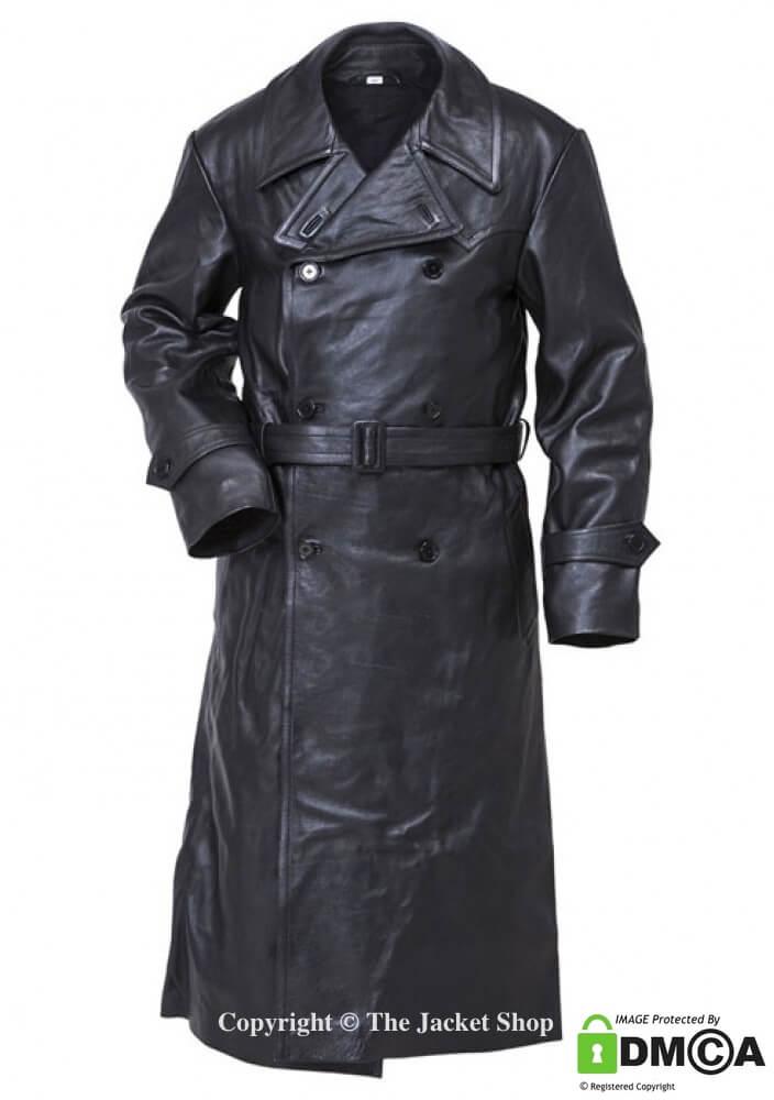 WW2 German Gestapo Jacket - Black Leather Trench Coat