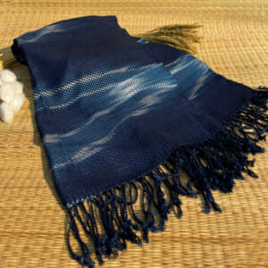 natural cotton indigo dyed handwoven scarf